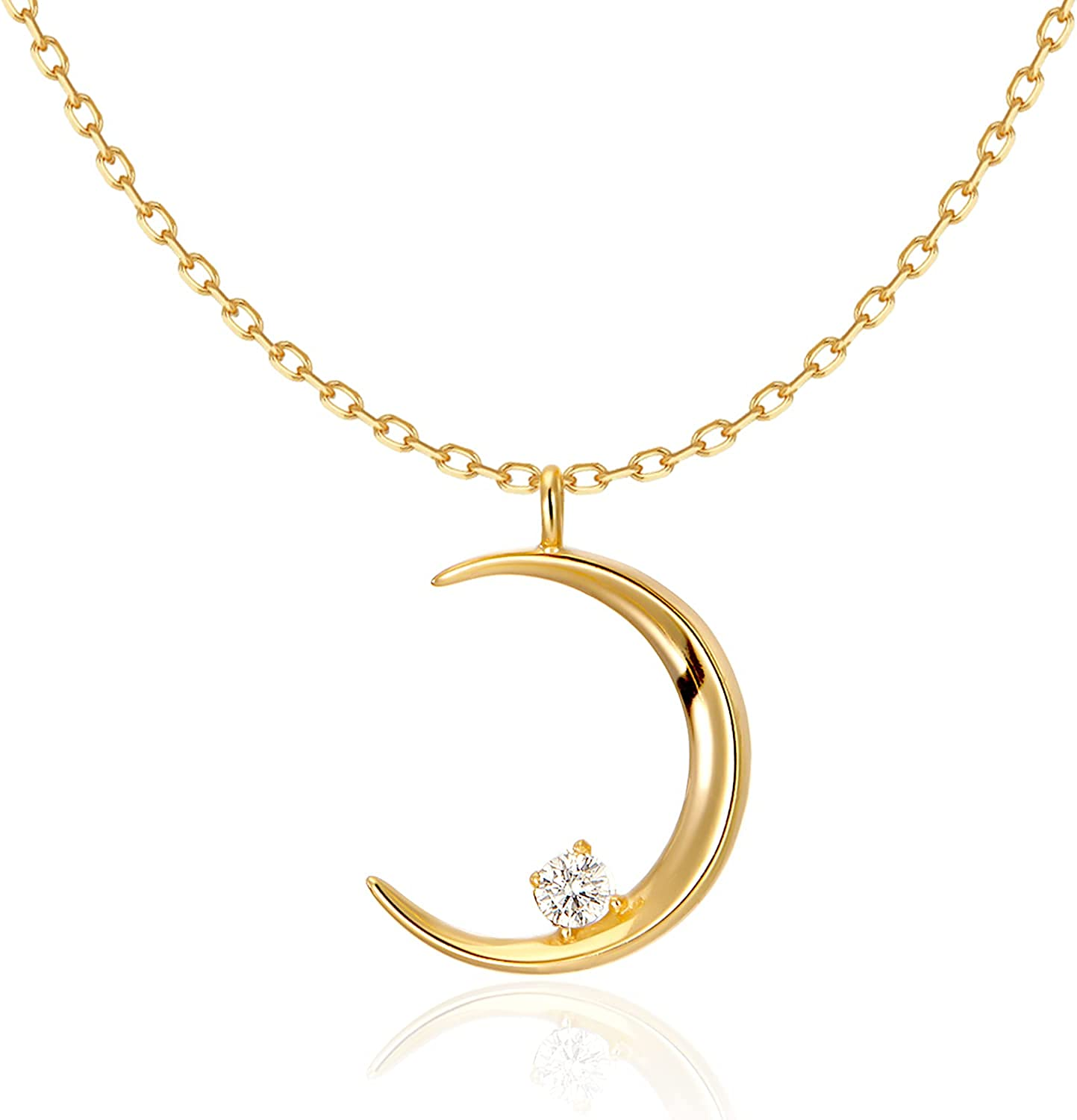 T TOSSINY 18K Gold Plated Moon Chain Necklace Crystal Pendant Charm Adjustable Cute Dainty Dangle Jewelry For Women Girls Mom For Her Gifts