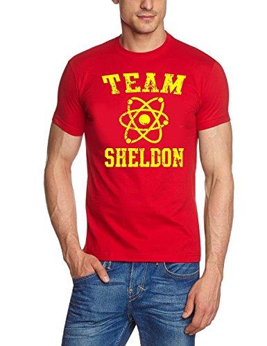 Coole-Fun-T-Shirts T-Shirt Team Sheldon - Big Bang Theory ! Vintage, rot gelb, XXL