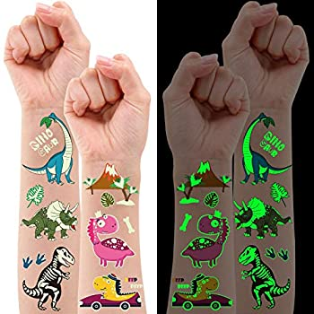 Partywind Luminous Dinosaur Decorations for Birthday Party 10 Sheets Glow Dinosaur Temporary Tattoos for Kids Dinosaur Party Favors Supplies Games for Boys and Girls T-rex Decorations