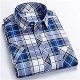 Camisas a cuadros para hombres de manga corta de manga corta ocio camisa delgada collar cuadrada tops masculinos (Color : D90 3, Size : XXXX-Large)