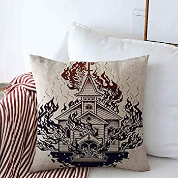Staromay Throw Pillows Covers Cushion Case Gothic Burning Church Flash Tattoo Dotwork Alchemy Satanism Arson Blackwork Blaze Burn Chapel Design Cotton Linen for Fall Couch Home Decor 16 x 16 Inches