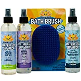 Bodhi Dog Lavender + Lemongrass + Oatmeal & Apple Waterless Shampoo 8oz + Grooming Shampoo Brush Bundle