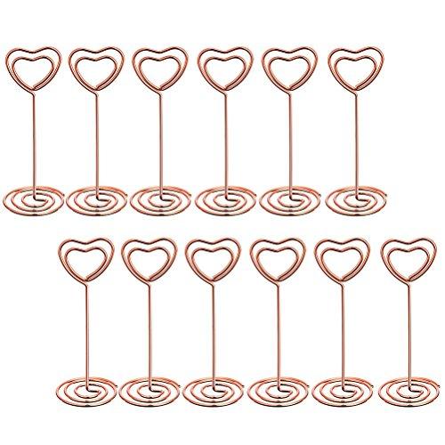 TOYANDONA 12 STÜCKE Hochzeit tischhalter Herzform platzkartenhalter draht Tabelle kartenhalter für hochzeitsbevorzugungen (Rose Gold)