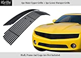 APS Premium Stainless Steel Black Horizontal Billet Grille Combo Compatible with 2010-2013 Chevy Camaro LT LS V6 Phantom Style N19-J72016C