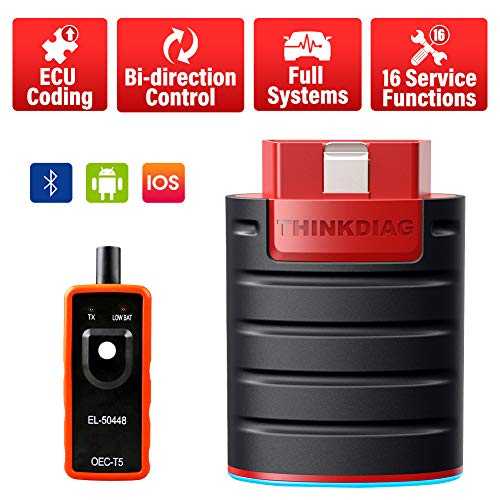 thinkcar Bidirectional Bluetooth OBD2 Scanner - ThinkDiag Diagnostic Scan Tool Code Reader Active Test, All Systems Diagnose, ECU Coding, 16 Service Functions for iPhone & Android + TPMS Activate Tool
