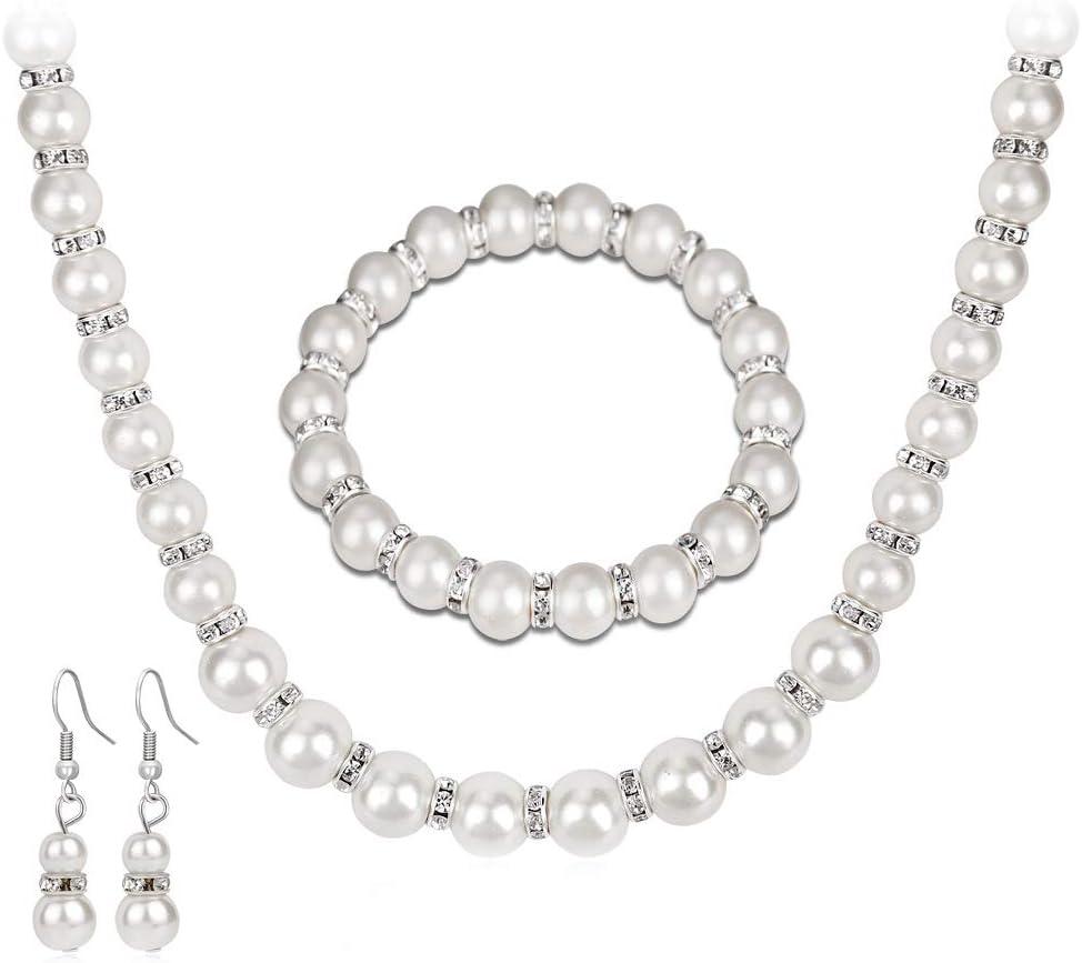 Jewelry Sets Faux Pearl Rhinestones In a popularity Sale item Necklace Brac Earring Dangle