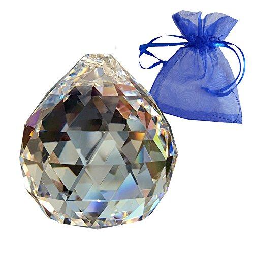 Kristallen bol D. 40 mm in fijn geschenkzakje hoogloodkristal regenboogkristal raamdecoratie Feng Shui kristalglas kristallen bol om op te hangen