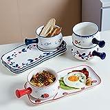 Juego de vajilla de cerámica (2 piezas) Set Creative Household One Pot One Plate, Plato de desayuno japonés, Plato de postre Pan de leche Azul-#2