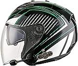 Casco Bluetooth Integrado Medio Abierto,Casco de Moto con Visera, Casco Moto Jet Cubierto Casco de Seguridad,Casco de Motocicleta Unisex,Scooter Casco ECE Homologado Green B,XXL=63~64cm