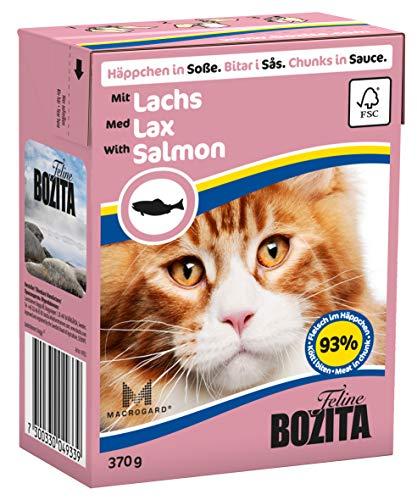 Bozita Häppchen in Soße Nassfutter mit Lachs im Tetra Recart 16x370g - Getreidefrei - nachhaltig produziertes Katzenfutter für erwachsene Katzen - Alleinfuttermittel