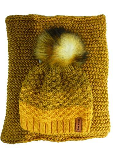 AMALTEA TEA 2 teiliges Damen Winterset Schal Mütze (honig senf ocker gelb) Veilo 36.64 - ohne Handschuhe - mit großem Bommel