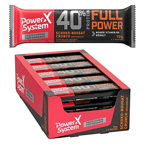 Power System Professional Protein Riegel - 20 x 70g Full Power Protein Bar 40% Eiweiss Riegel (Schoko-Nougat-Crunch)