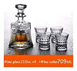 ZHBH Juego de decantador de Whisky, Regalos para Hombres, Juego de decantador de Whisky de Cristal y Vasos de Whisky, Juego de decantador de Cristal con 4 Vasos en una Caja de Regalo con Estilo ú