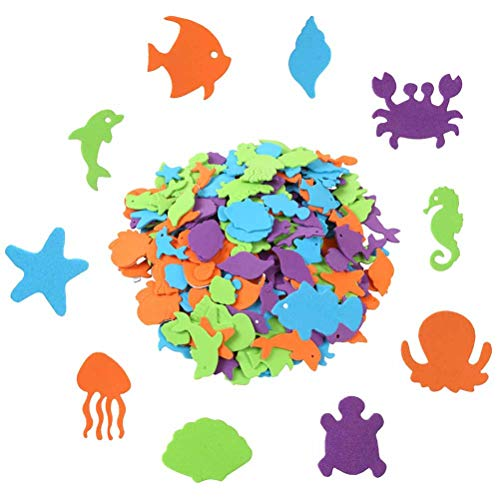 600 Pcs Alphabet Sea Animal Shapes Foam Stickers, Uspacific Self-Adhesive Marine life Stickers for Kids Toy,Party Favor or Decoration