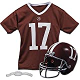 Franklin Sports Alabama Crimson Tide Kids College Football Uniform Set - NCAA Youth Football Uniform Costume - Helmet, Jersey, Chinstrap Set - Youth M