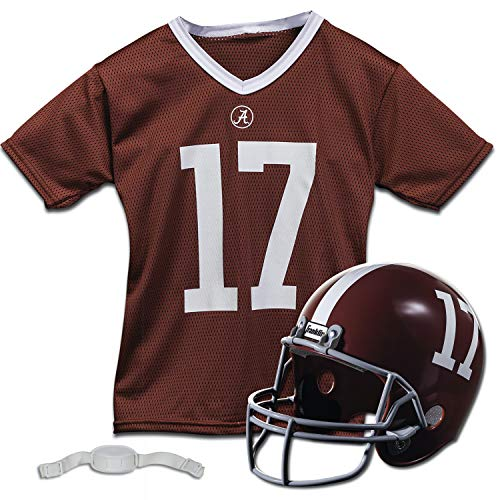 Franklin Sports Alabama Crimson Tide Kids College Football Uniform Set - NCAA Youth Football Uniform Costume - Helmet, Jersey, Chinstrap Set - Youth M