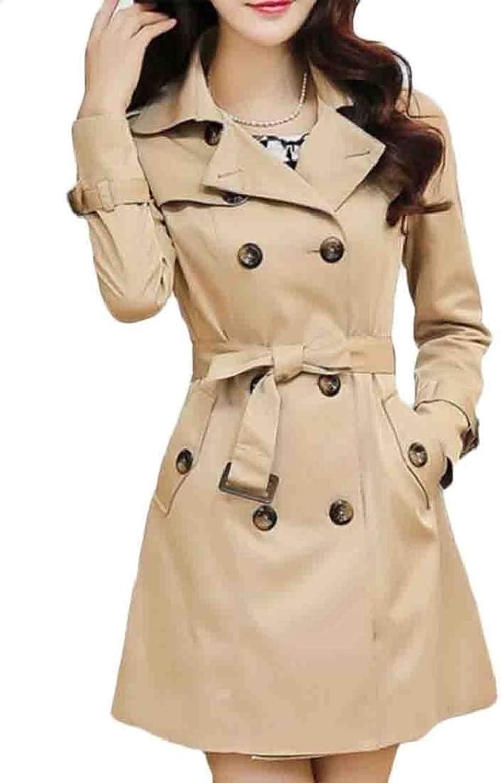 Rrive Womens Belted Lapel Double Breasted Mid Long Windbreaker Jacket Coat