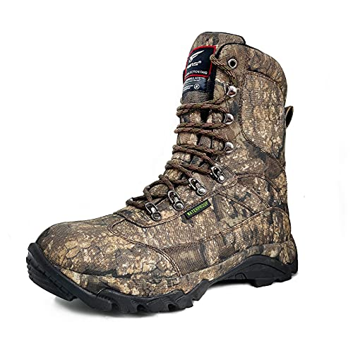 8 Fans 9 Inch Lightweight Waterproof Mens Hunting Boots with 800G Thinsulate Insulation, Insulated Hunting Boots with Memory Foam Insole Realtree Timber Camo Boots