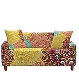 Meiju 3D Fundas de Sofá Elasticas de 1 2 3 4 Plazas, Bohemia Ajustables Cubierta de Sofá Cubre Sofa Antideslizante Funda Cubre Sofas Furniture Protector (Mandala Amarillo,1 Plaza - 90-140cm)
