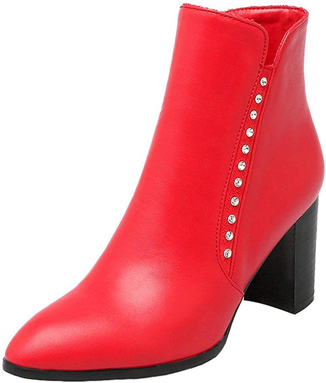 Gedigits Women's Dressy Rhinestone Pointed Toe Side Zipper Block High Heel Ankle Booties Black 7.5 M US