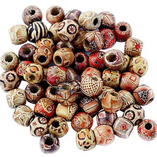 MVPACKEEY 100 cuentas redondas de madera para hacer joyas, espaciadores sueltos de 9 x 10 mm