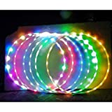 Hankyky LED Tanzen Hoop, Farbe Strobing ändern Hoop Kinder Erwachsene - Lightweight & Collapsible Dance & Fitness Glow Weighted Light Up Hoola Hoops für Erwachsene Kinder