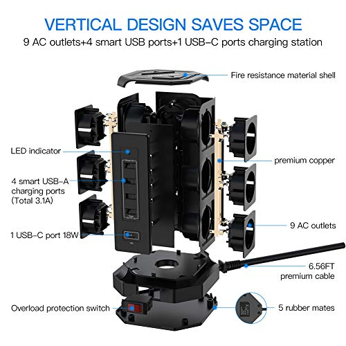 NVEESHOX Ciabatta Multipresa Verticale 9 Prese con 4 Slot USB A +1 USB C 2M Cavo Protezione,Torretta Ciabatta Multipresa da Scrivania Elettrica con Protezione da Sovraccorrente (Nero)