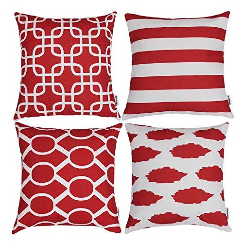 TIDWIACE® Rot Kissenbezug Kissenhülle Dekorative Dekokissen mit Verstecktem Reißverschluss Sofa Schlafzimmer Auto 18x 18 Inch 45 x 45 cm 4er Set