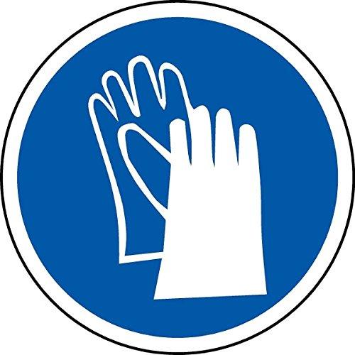 International ISO Handschuhe Pflicht Symbol Sicherheitszeichen - Selbstklebende Aufkleber mit 50 mm Durchmesser (Packung mit 5 Aufkleber)
