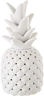 Lámpara de piña exótica de cerámica blanca de 28 cm - LOLAhome