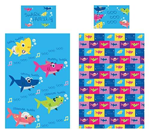 KidCollection Shark Family Single/Junior Duvet Cover Reversible Bedding Set (Single Duvet Cover)