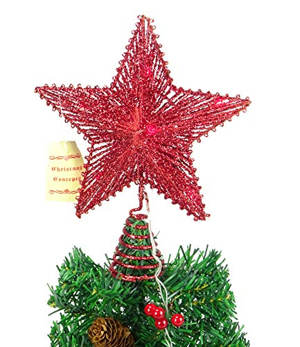 Christmas Concepts® 10'Estrella elástica roja con Luces LED Rojas - Estrella de árbol de Navidad/Decoración...