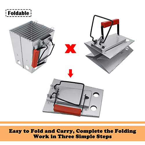 GFTIME Collapsible Charcoal Chimney Starter with Handle for Weber BBQ Charcoal Grill Foldable Quick Start Spare Parts…