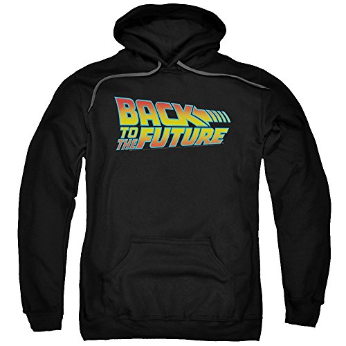 Adults Official Back to The Future 80's Logo Hoodie, Black, S to 3XL