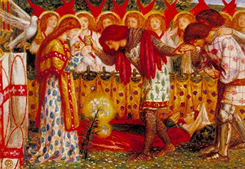 """Dante Gabriel Rossetti How Sir Galahad, Sir Bors, and Sir Percival were fed with The Sanc Grael; But Sir Percivals Sister Died by The Way 1864 Tate - 30"""" x 21"""" Fine Art Giclee Canvas Print (Unframed)"""