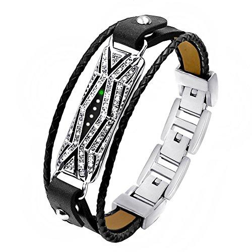 NEO+ Band kompatibel mit Fitbit Flex 2, Verstellbarer Ersatz aus echtem Leder geflochtene Armbänder Metallverschluss mit Strass (Leder RS Armband Gross)