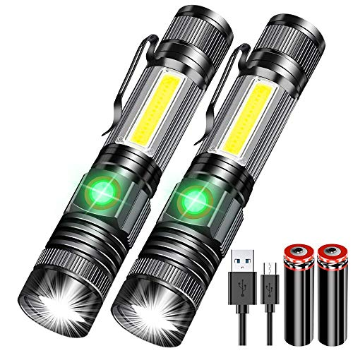 Karrong Magnetisch Taschenlampe LED Wiederaufladbare Super Helle, Kleine Mini USB Taschenlampen, Zoomable Starke SOS Wasserdicht Taschenlampen für Kinder Outdoor Camping Notfall (mit 18650 Akku)