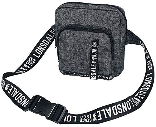 Lonsdale London Cross Body Bag Unisex Umhängetasche grau meliert/schwarz