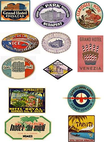 Estilo Vintage Viaje Maleta Equipaje Etiquetas juego de 12pegatinas de vinilo Set 3de 4