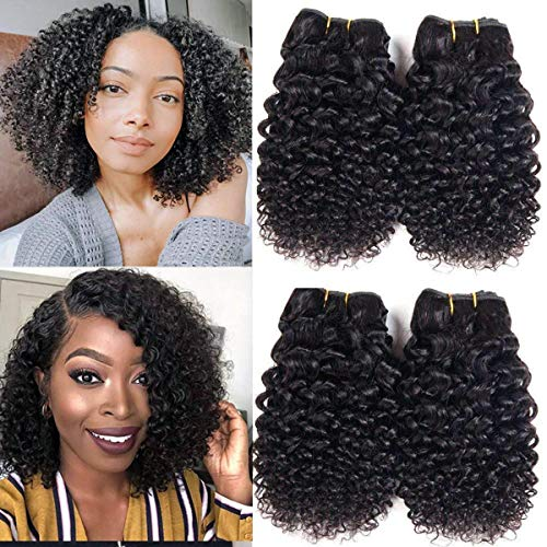 Luxnovolex Kinky Curly Human Hair Bundles 50g/pc 4 Bundles Deals Jerry Curly Brazilian Hair Weave Unprocessed Natural Color Virgin Kinky Curly Hair Extensions Total 200g(10 10 10 10)