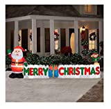 12 Ft. Long Outdoor Inflatable Merry Christmas Sign w/ Santa Clause & Elf | Great Lawn or Yard Holiday Decor w/ Light | Perfect Accent to Other Seasonal Ornaments