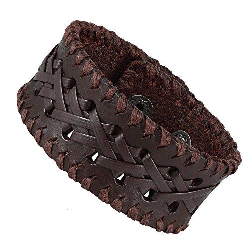 Urban-Jewelry Bracelet manchette en cuir véritable marron pour homme