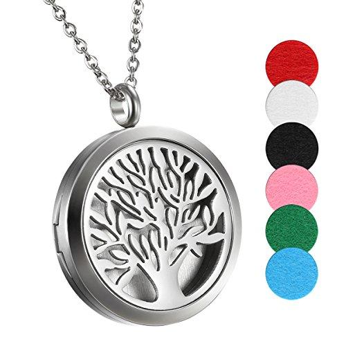 Cupimatch Collar Árbol de la Vida Colgante de Acero Inoxidable con Forma de Perfume de Aromaterapia, difusor de Aceite Esencial