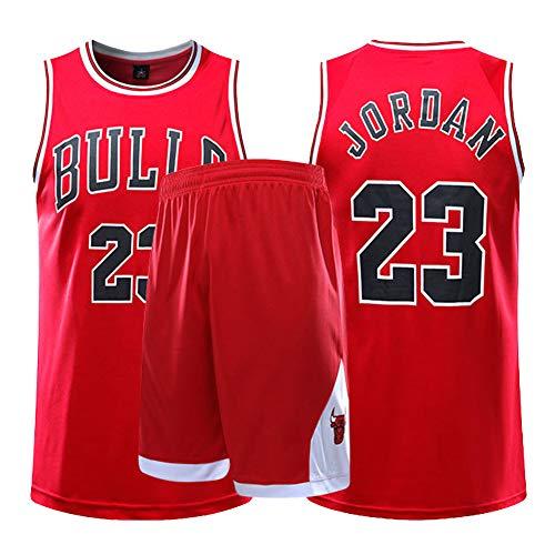 Dybory NBA Michael Jordan # 23 Chicago Bulls Trikot Set, Herren Basketball Uniformen Kinder Sportbekleidung, Retro Gym Weste Sport Top Und Kurz,Rot,L