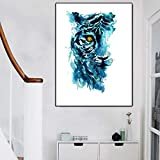 N / A Watercolor Animal Print Tiger Poster And Canvas Wall Picture Printing Living Room Home Decoration Painting Frameless