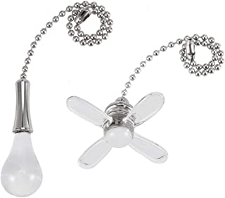 Awclub Ceiling Fan Pull Chain, 2 Pack 3mm Diameter Harbor Breeze 6-in Brushed Nickel and White Metal Pull Chain