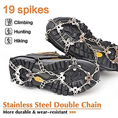 Samyki Ice Cleats Crampons, Anti Slip 19 Teeth Stainless Steel Spikes Ice Grips Ice Grippers for women/men, Durable Silicone Spike Shoes Traction Cleats, Ice Crampons Snow Grips for Hiking on Ice/Snow