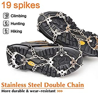 samyki Ice Cleats Crampons, Ice Grips Ice Grippers for Women/Men, Anti Slip Traction Cleats 8/19 Spikes, Durable Silicone Spike Shoes, Quickly and Easily Grips Over Footwear, Ice Crampons Snow Grips