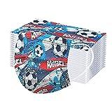 50 Piezas Niños Niñas Fútbol_Mascarillas, 3 Capas tela no tejida_Mascara, 3D Estéreo Hermosa Diseño Impresión, Sin Posicionamiento Cómodo,...