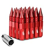 J2 Engineering 20Pcs M12 x 1.25 7075-T6 Aluminum 107mm Spiked End Lug Nut w/Socket Adapter (Red)